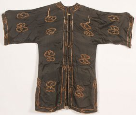 """A Chinese Embroidered Silk """"dragons"""" Robe, 19th C"""