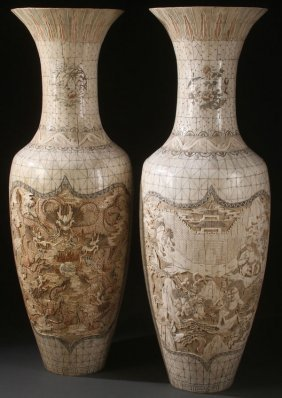 Pr Of Monumental Chinese Carved Bone Vases