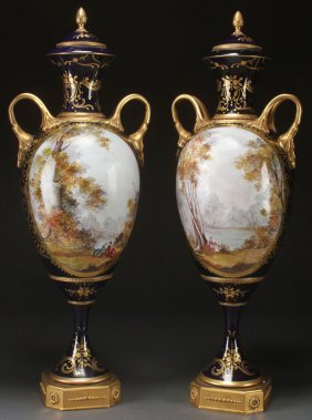 Pr Of Sevres Style Hand Painted Porcelain Urns