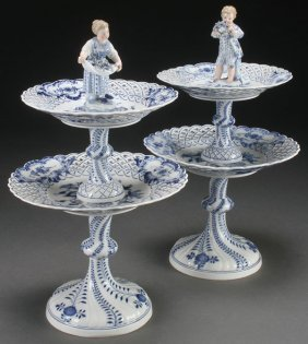 Pr Meissen Blue & White Porcelain Servers