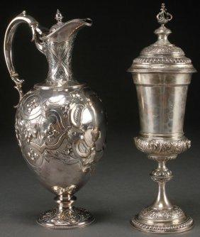 A Hanau Style Silver Ewer And Lidded Pokal