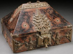 An Attractive Brass Mounted Pyramidal Dowry Box