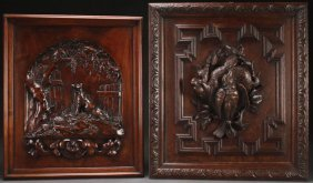 A Pair Of Continental Carved Wood Figural Panels,