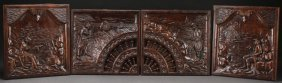Four Northern German Carved Scenic Oak Panels