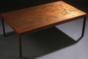 """A Mid-century Modern Etched Copper And Rosewood """""""