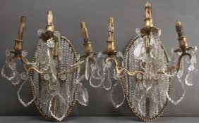 Pair French Gilt Bronze And Cut Crystal Wall Sconces