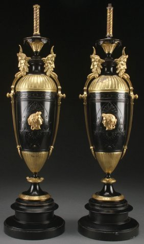 A Pair Of French Gilt Bronze And Enameled Neo-cla