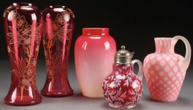 A Five Piece Collection Of Victorian Art Glass,
