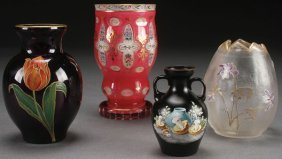A Four Piece Group Of Victorian Enameled Glass.