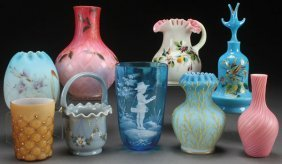 A Nine Piece Group Of Victorian Art Glass. Incl