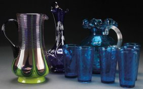 A Nine Piece Group Of Bohemian Art Glass. Compr