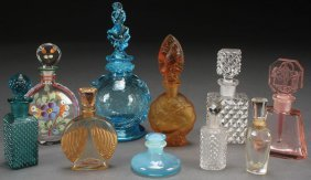A Collection Of Ten Vintage Glass Perfume Bottles