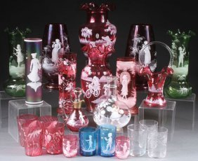 A 15 Piece Group Of Mary Gregory Style Enameled Glass