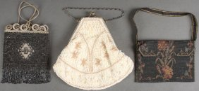 A Group Of Three Ladies Beaded Bags, Mostly Circa