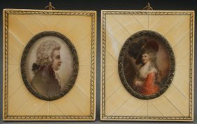 A Pair Of Miniature Painted Ivory Portraits, 1910