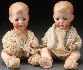 A Pair Of Bruno Schmidt German Bisque Dolls, Circ