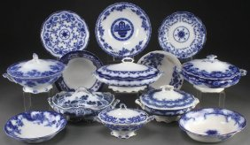 A 13 Piece Group Of English Staffordshire Flow Blue