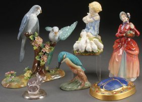 A Six Piece Group Of Figural Porcelain