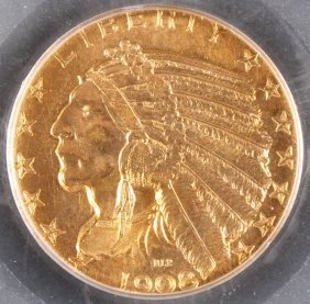 Two Certified $5 Indian Gold Half Eagles.