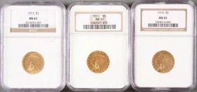 Three U.s. $5 Indian Gold Pieces. Each Ngc Cert