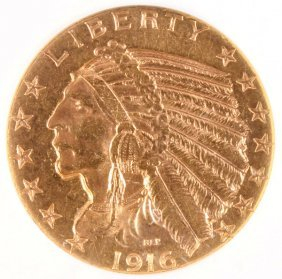 A 1916-s $5 Indian Gold Half Eagle. Ngc Ms60.