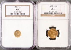 Two U.s. Liberty Head Gold Pieces.