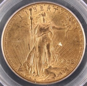 A 1908 $20 St.gaudens Gold Double Eagle. Ms63