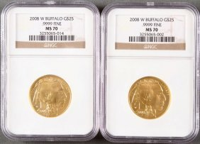 Two U.s. $25 Gold Buffalos. Both 2008-w