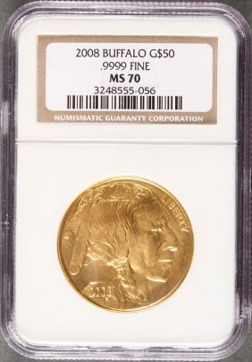 A U.s. 2008 $50 Gold American Buffalo. Pcgs Ms70.