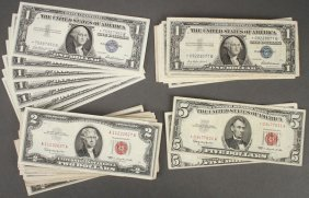 A Group Of 54 U.s. $1, $2 And $5 Notes. Compris