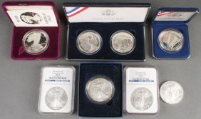 A Collection Of Silver Eagles And Commemorative C