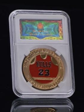 EX. Rare MICHAEL JORDAN Enameled Gold MVP Coin