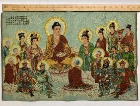 Chinese Hand Embroidered Silk Buddha Tapestry