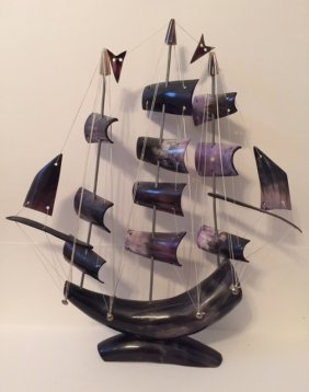 "Vintage 16"" Tall Fully Handmade Horn Pirate Ship"