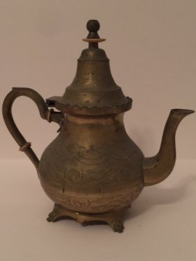 19th Century Chinese Hand Etched Brass Teapot
