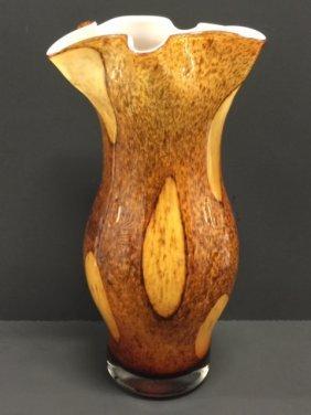 "12"" Tall Venetian Murano Art Napkin Glass Vase"