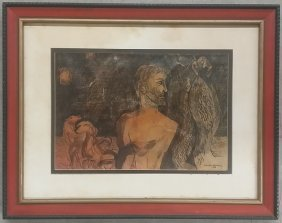 Mixed Media On Paper Signed Lawrence Donovan 1964