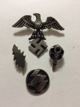 Four German Nazi Swastika Insignia Uniform Pins