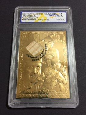 V. Rare Cal Ripken Jr Game Used Bat 23kt Gold Card