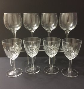 2 Sets Of 4 - Vintage French Crystal Wine Glasses