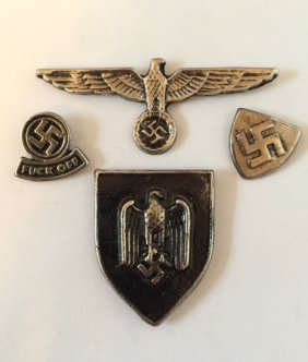 Lot Of 4 German Nazi Swastika Insignia Ephemera