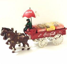 Old Cast Iron Coca-cola Horse Drawn Delivery Wagon