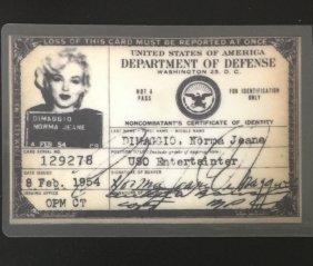 1954 Marilyn Monroe/norma Jean Dimaggio Id Card