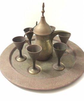 19th Century Brass/copper Coffee Service For 6