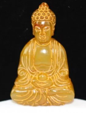 Old Chinese Hand Carved Netsuke Yellow Jade Buddha