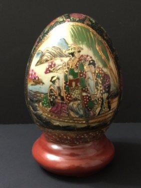 Large Signed Satsuma Porcelain Footed Egg