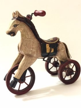 Old Handmade Wood Tricycle/pull Toy Horse