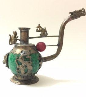 Chinese Folk Art Jade/silver Dragon Tobacco Pipe