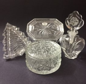 Lot Of 4 Cut Crystal Perfume Bottle & Trinket Box