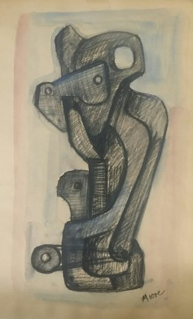 Attributed To Henry Moore Mixed Media On Paper